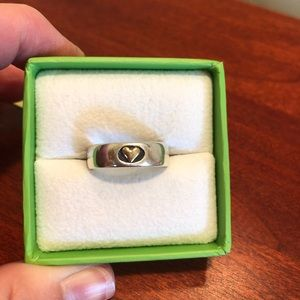 Sterling Silver 14K Gold Heart Band Ring, Size 8